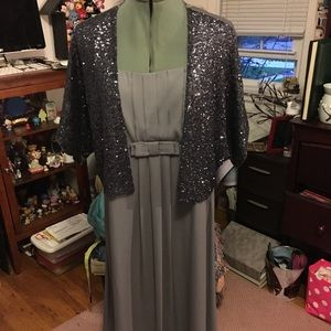 H&M Lightweight Grey Chiffon Dress w/jacket 14